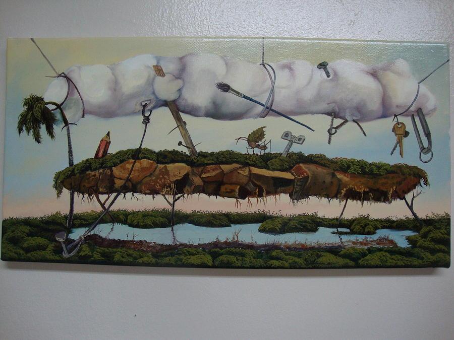 Surrealism Painting - Between Heaven And Earth by Carlos Rodriguez Yorde