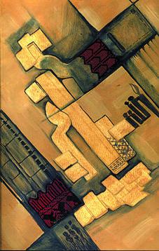 Solitude Painting - Between Rocks 2 by Marwan Al-Allan