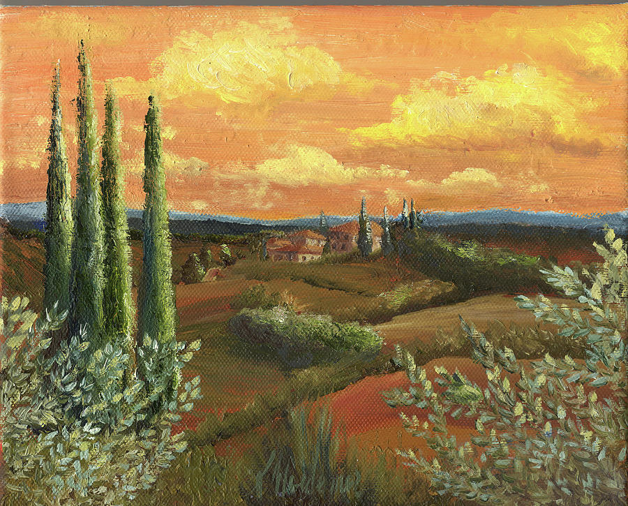 Italy Painting - Between The Olive Trees by Leah Wiedemer