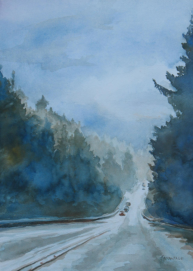 Road Painting - Between The Showers On Hwy 101 by Jenny Armitage