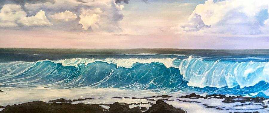 Wave Painting - Between the Turtle and the Shark by Darren Mulvenna
