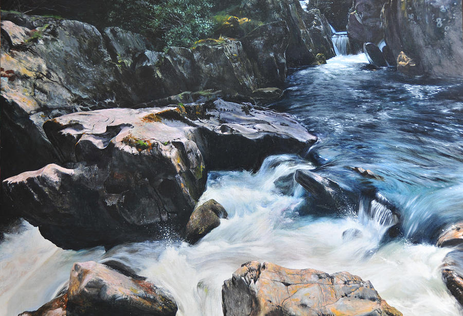 Landscape Painting - Betws-y-coed Waterfall by Harry Robertson