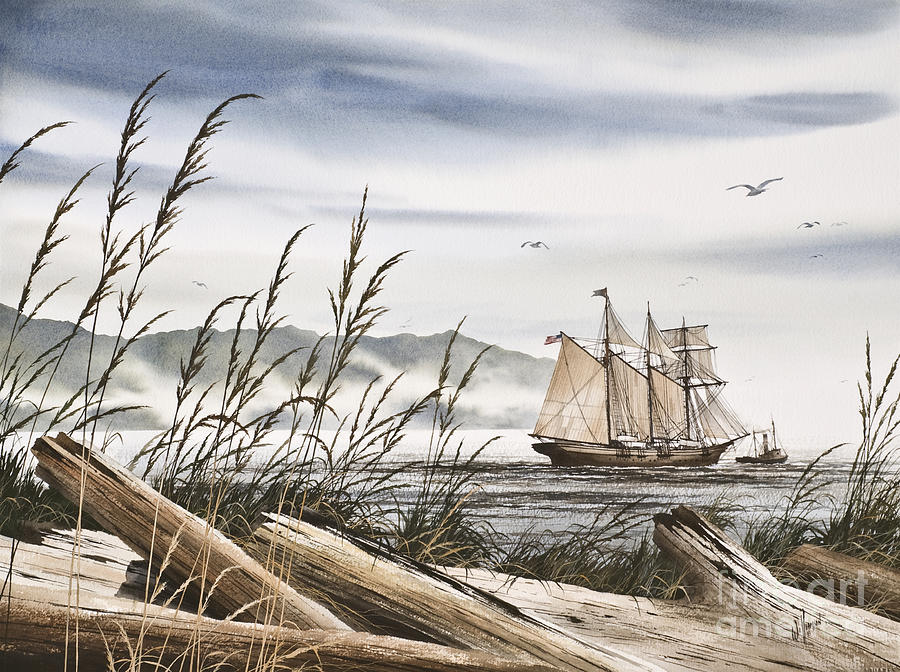 Tall Ship Print Painting - Beyond Driftwood Shores by James Williamson