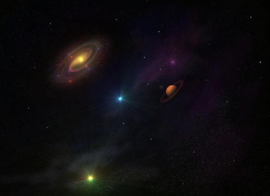 Planets Digital Art - Beyond Our Milky Way by Ricky Haug