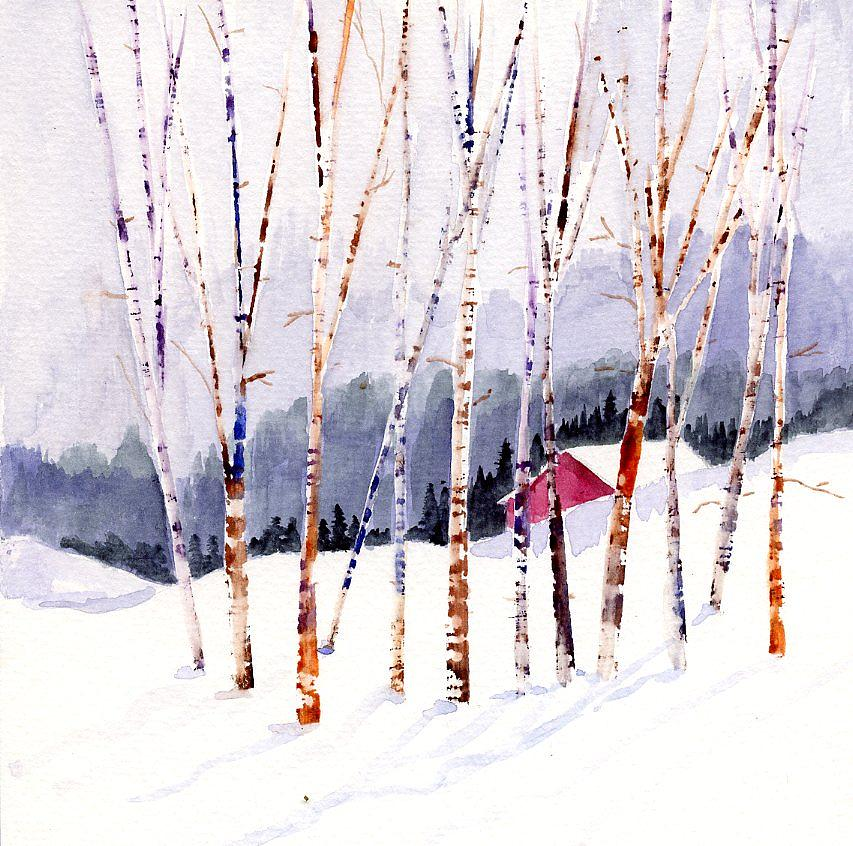 Snow Scene Painting - Beyond The Birch Thicket by Mimi Boothby