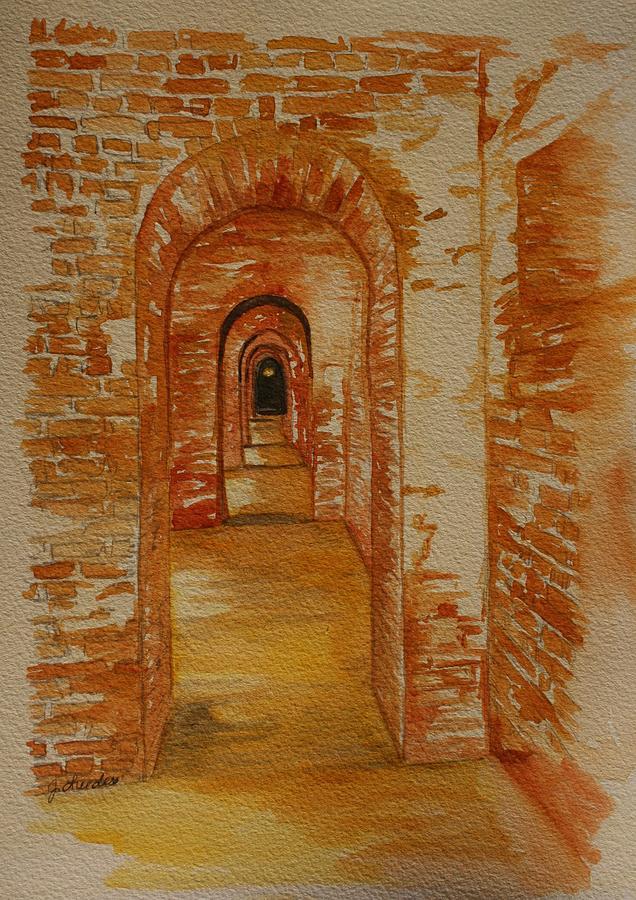 Brick Painting - Beyond The Black Door by Julie Lueders