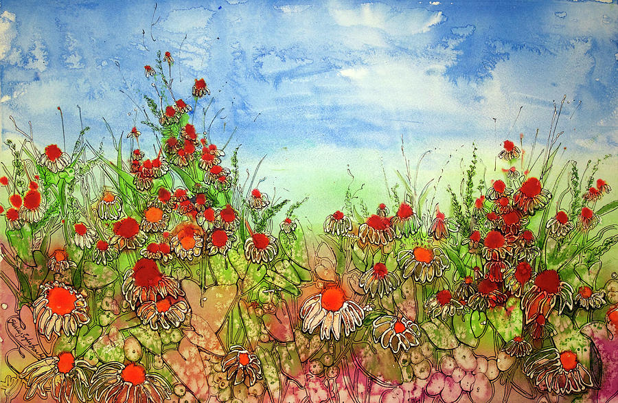 Beyond The Flowers Painting