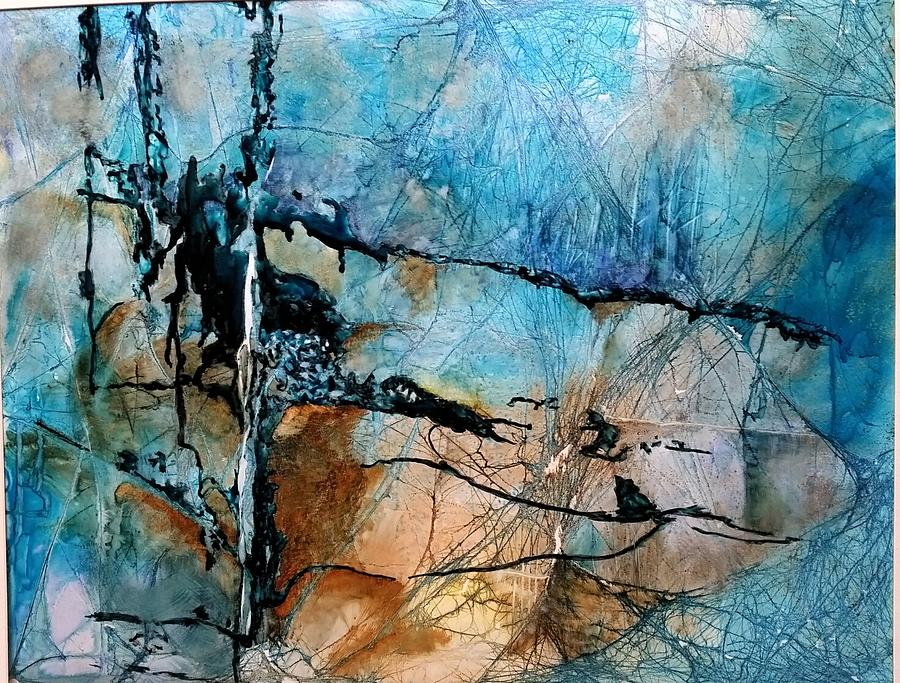 Contemporary Painting - Beyond The Forest Line by Barbara Rhodes