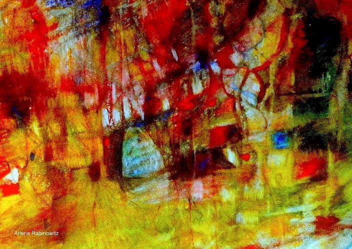 Abstracts Drawing - Beyond The Gates 3 by Arlene Rabinowitz