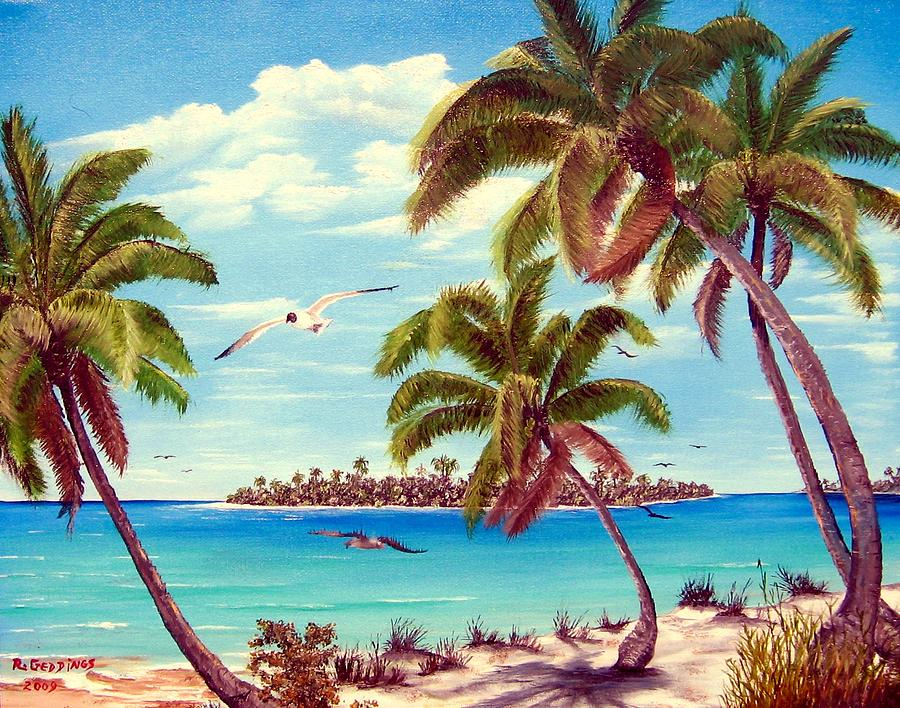 Art Work Painting - Beyond The Palms by Riley Geddings