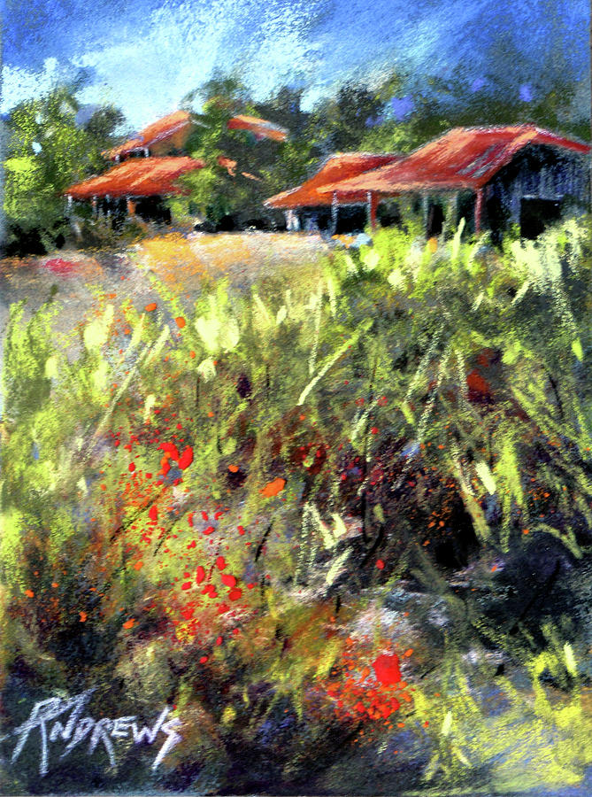 Pastel Painting - Beyond The Red Flowers by Rae Andrews
