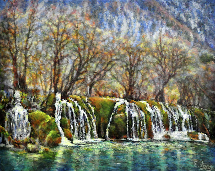 Waterfalls Painting - Beyond The Snowy Mountains by Eileen  Fong
