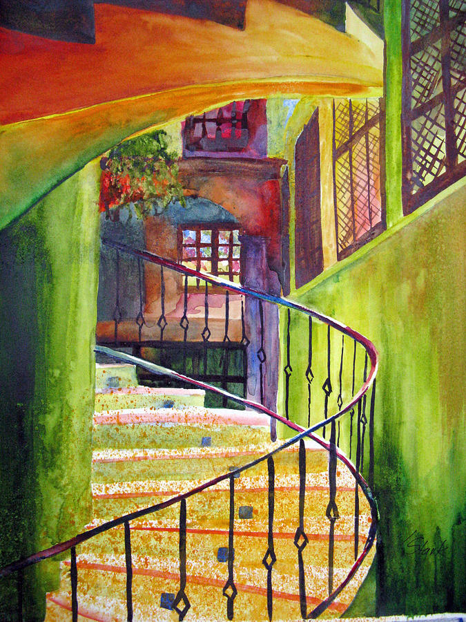 Architecture Painting - Beyond The Steps by Karen Stark