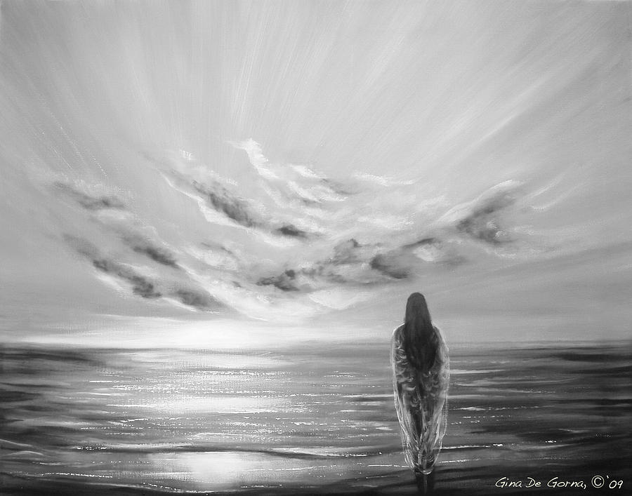B&w Painting - Beyond The Sunset Black And White by Gina De Gorna