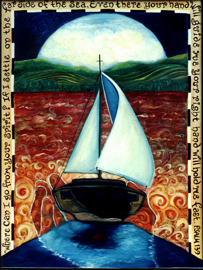 Sailboat Painting - Beyond These Shores by Teresa Carter