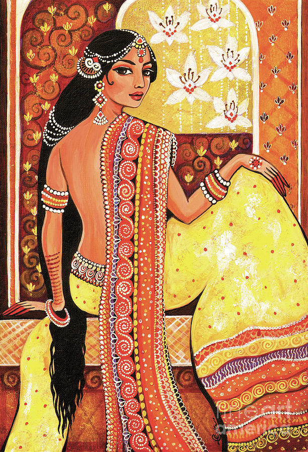 Beautiful Woman Painting - Bharat by Eva Campbell