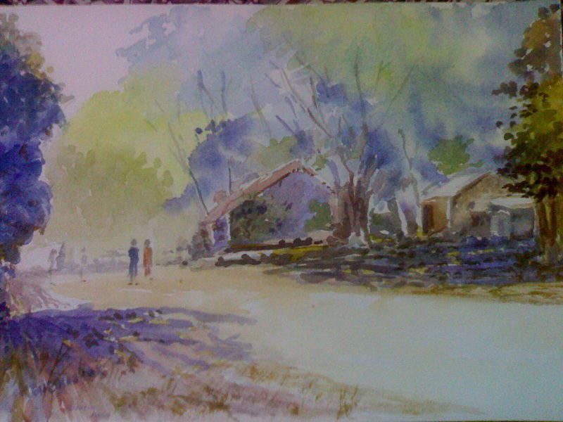 Landscape Painting - Bhor Village by Subhash Kulkarni