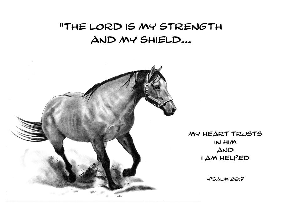 Bible Drawing - Bible Verse With Drawing Of Horse by Joyce Geleynse