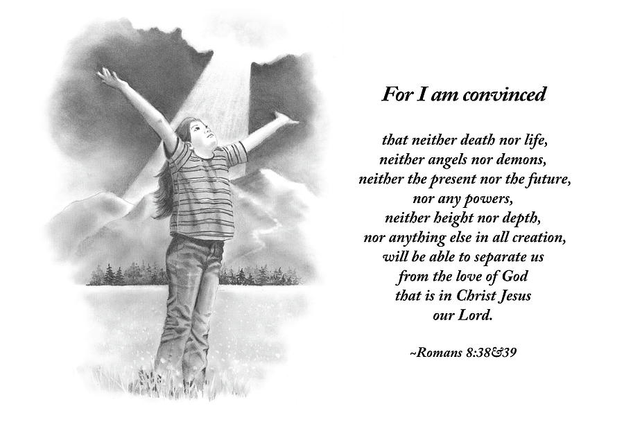 Bible Drawing - Bible Verse With Pencil Drawing by Joyce Geleynse