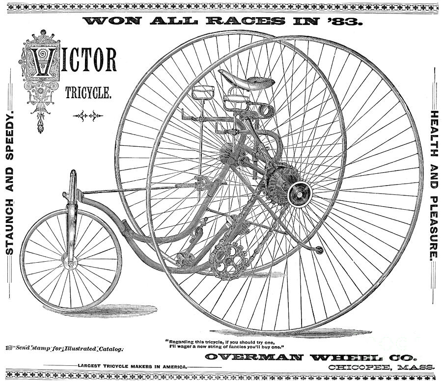 1884 Photograph - Bicycle, 1884 by Granger