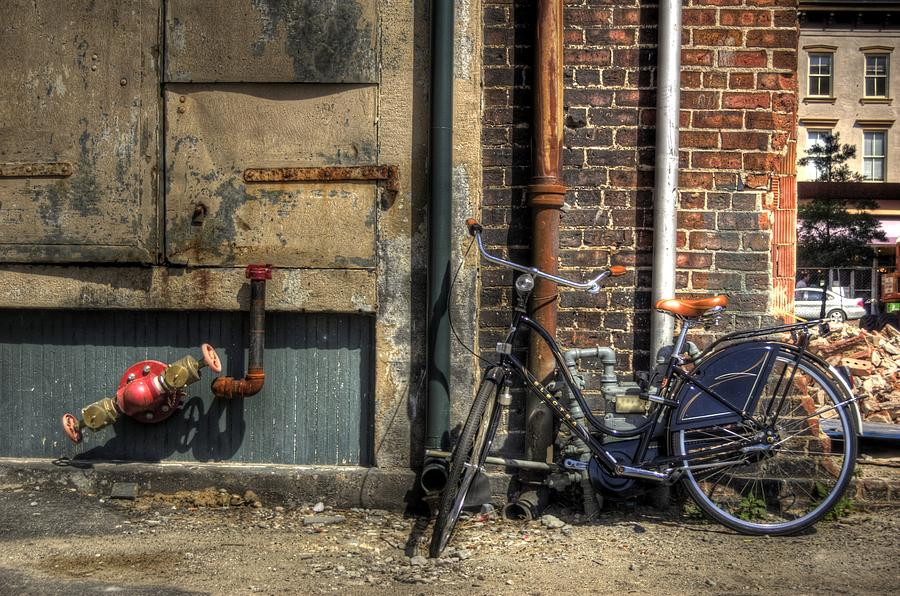 Bicycle Photograph - Bicycle In Alley by Andrea LaRayne Etzel