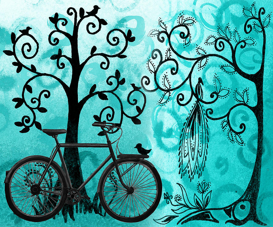 Bicycle Painting - Bicycle In Whimsical Forest by Irina Sztukowski