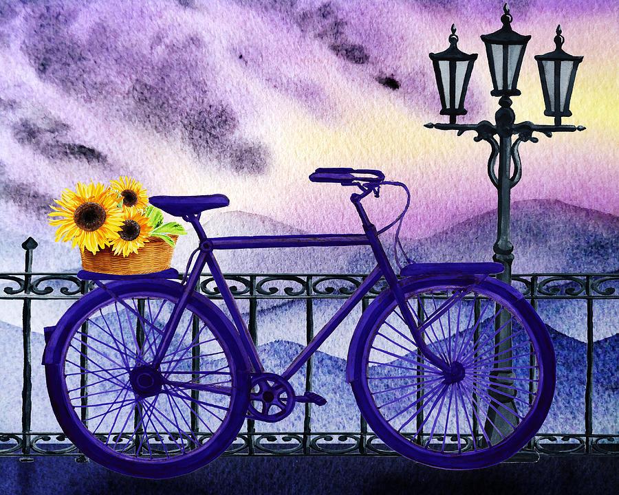 Blue Bicycle And Sunflowers by Irina Sztukowski  by Irina Sztukowski