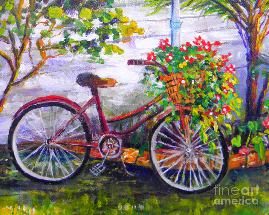 Garden Painting - Bicycle by Lou Ann Bagnall
