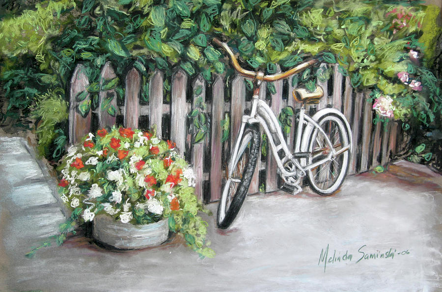 Flowers Painting - Bicycle On Fence by Melinda Saminski
