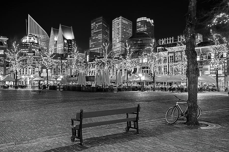 The Hague Photograph - Bicycle on the Plein at Night - The Hague  by Barry O Carroll