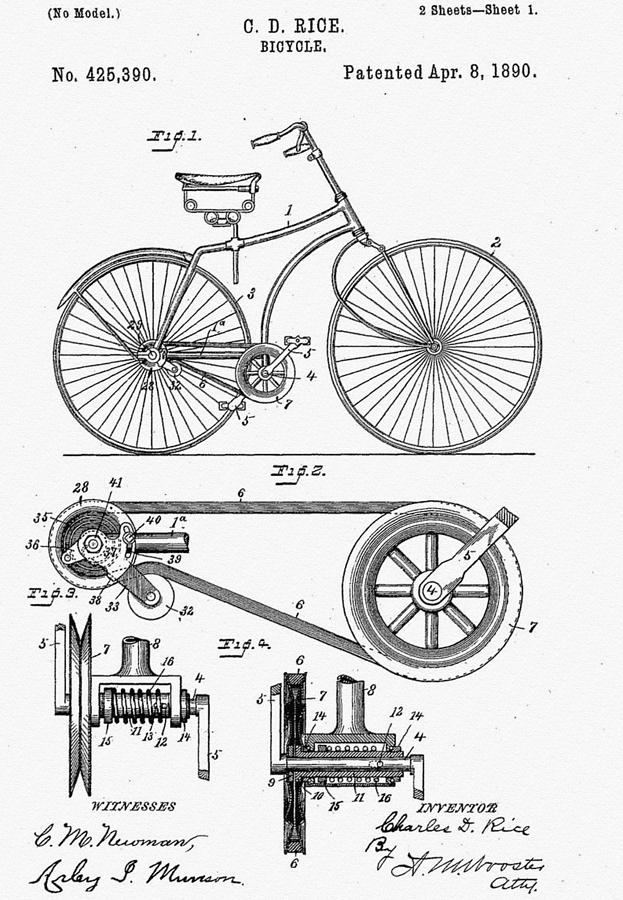 Bicycle Patent 1890 Drawing - Bicycle Patent 1890 by Bill Cannon