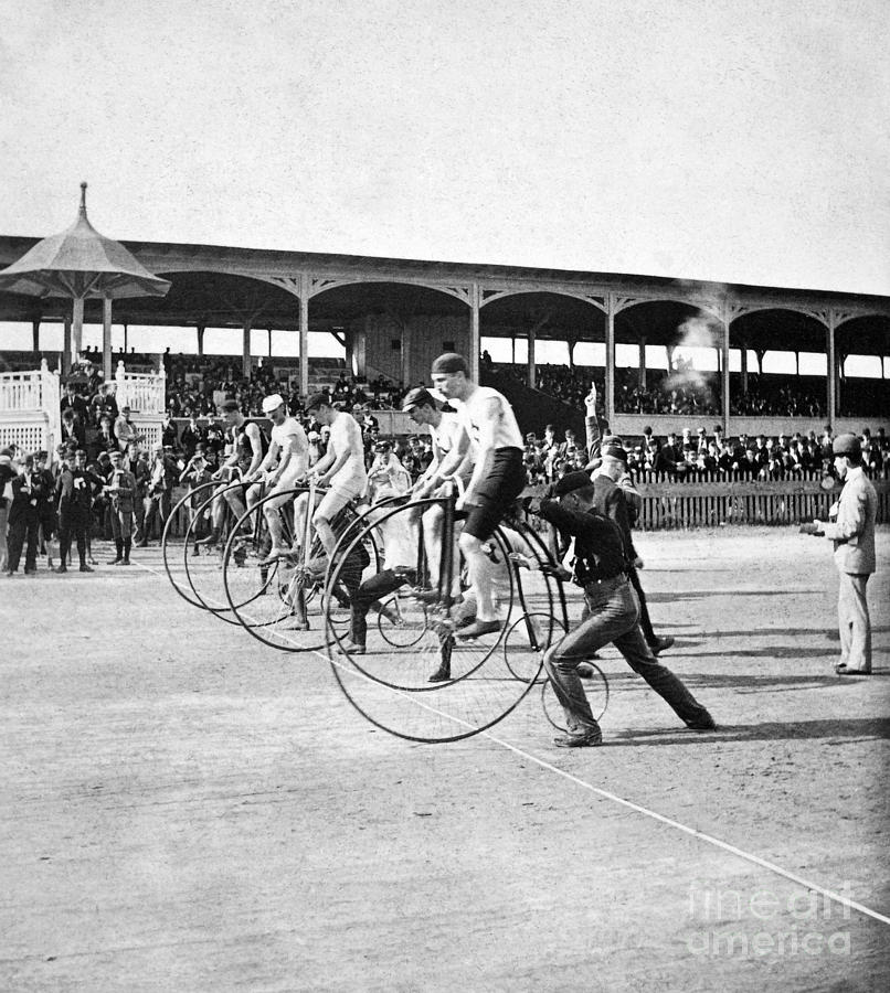 1890 Photograph - Bicycle Race, 1890 by Granger