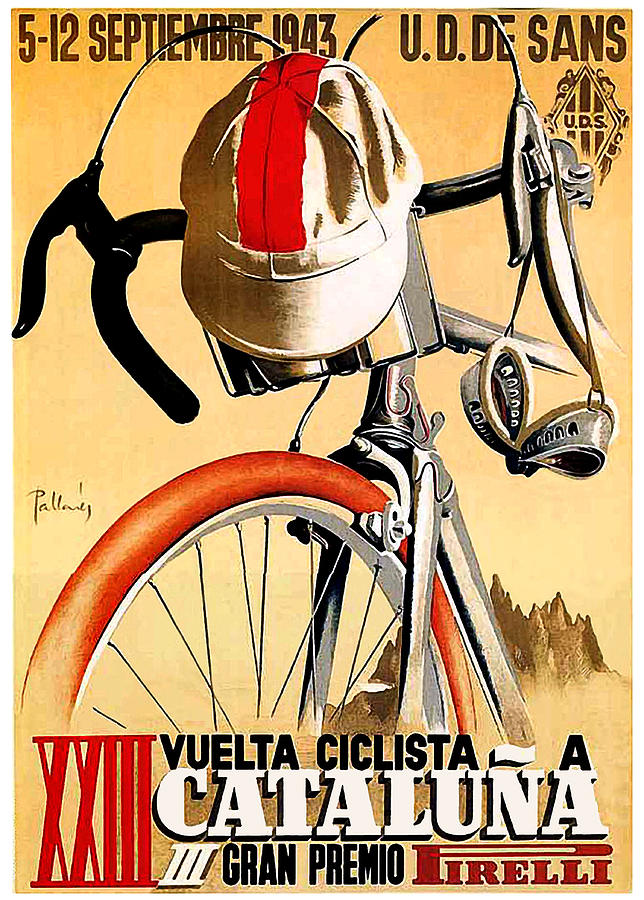 Bicycle Painting - Bicycle Race, Catalonia, Vintage Travel Poster by Long Shot