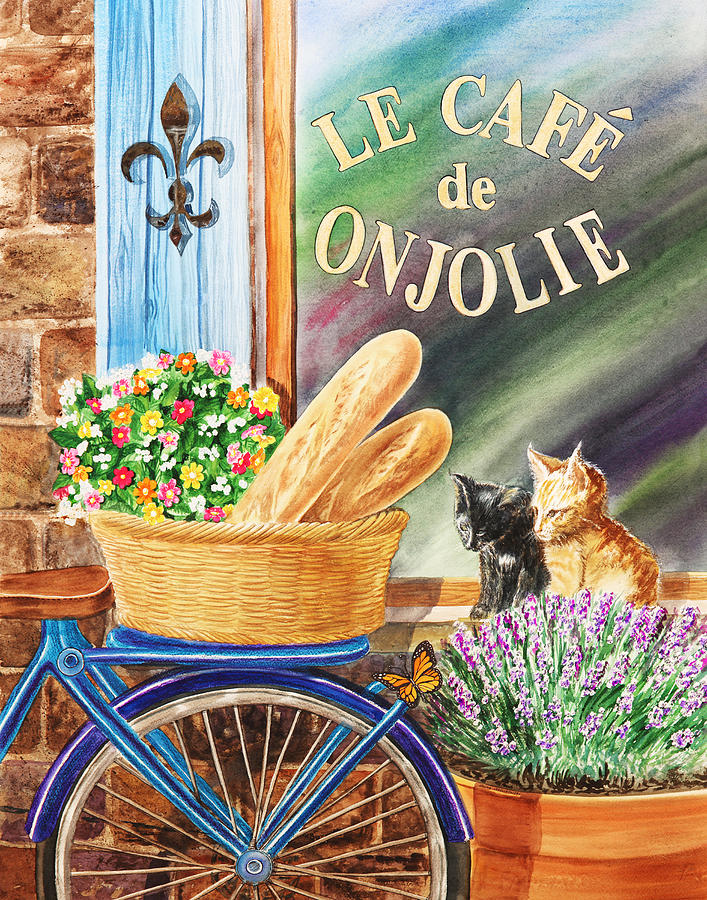 Bicycle With Basket At The Cafe Window Painting