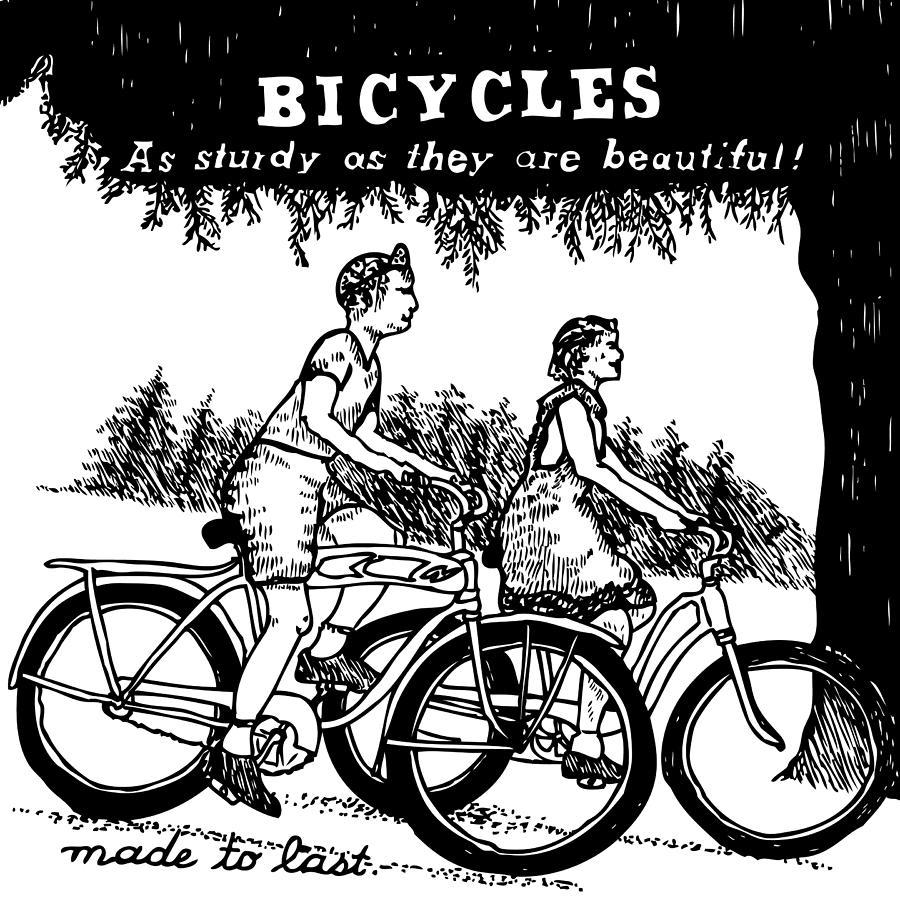 Drawing Drawing - Bicycles - As Sturdy As They Are Beautiful by Karl Addison