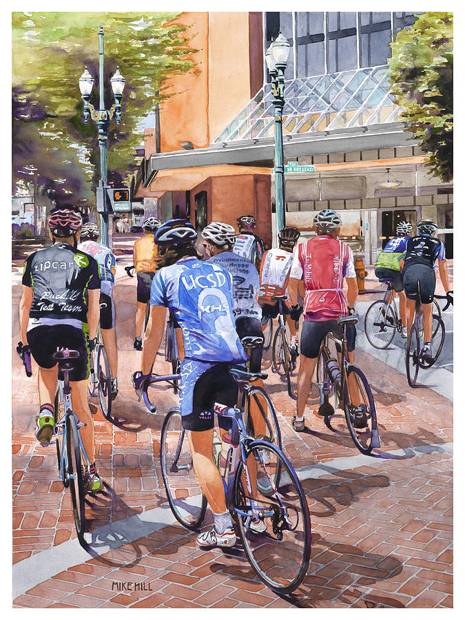 Bicycles On Broadway Painting by Mike Hill