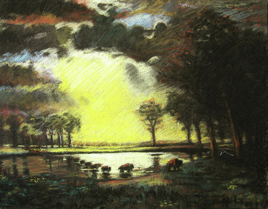 Color Drawing - Bierstadt Impression by Nils Bifano