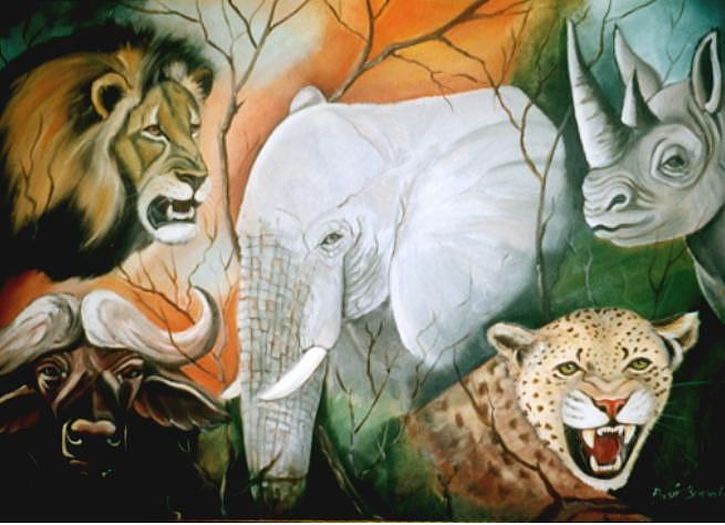 Animals Painting - Big 5 Fire by Ansie Boshoff