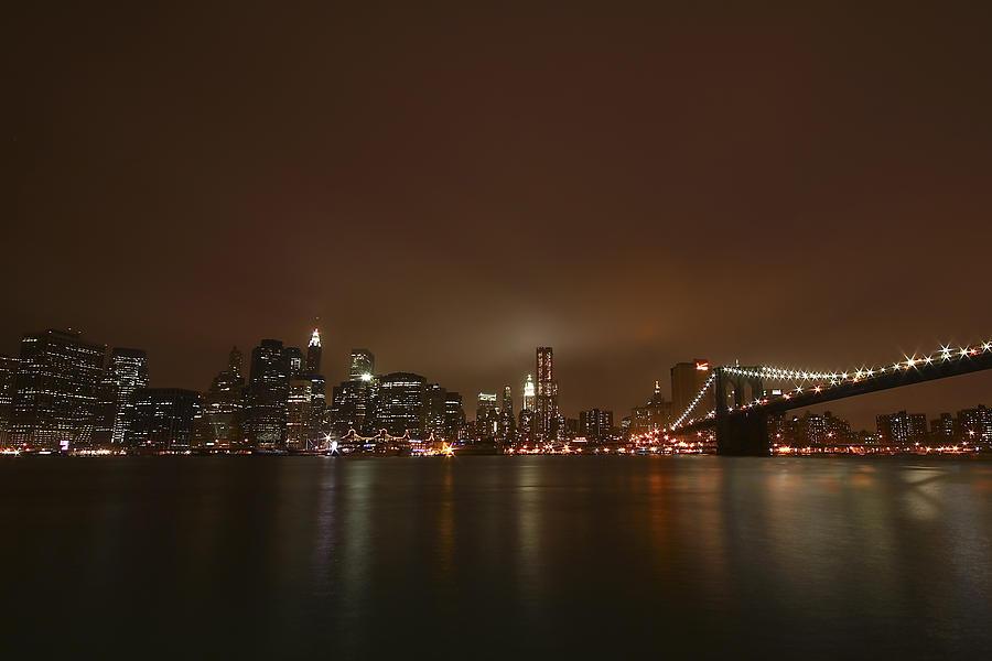 Bridge Photograph - Big Apple Lights by Evelina Kremsdorf