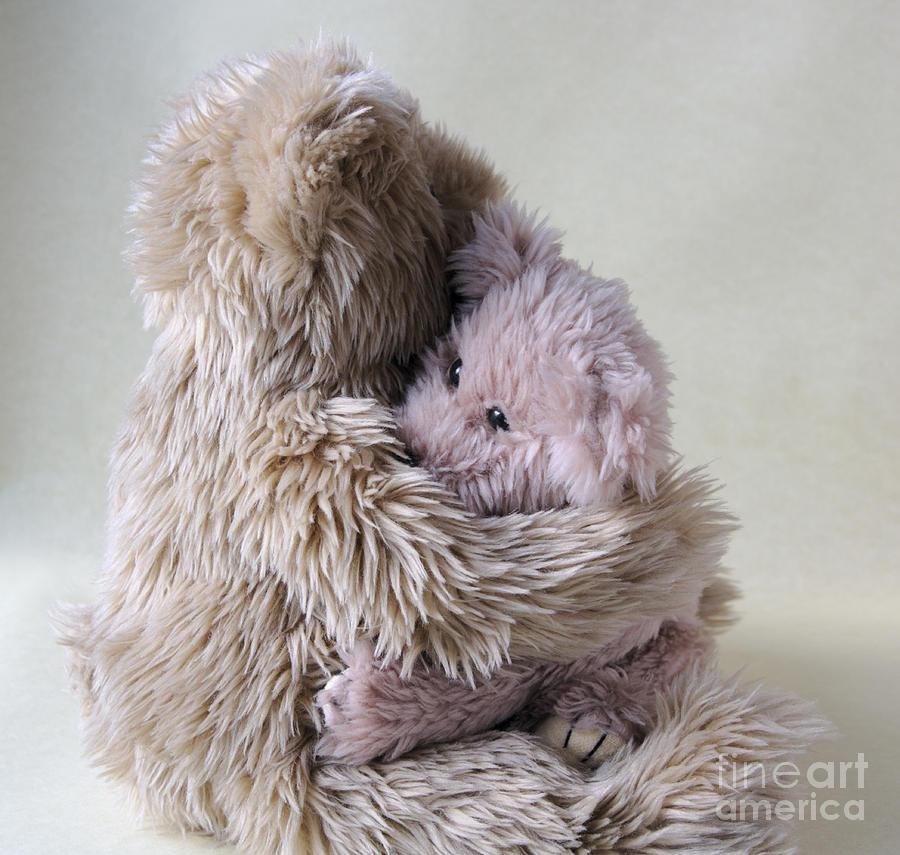 Teddy Bear Photograph - Big Bear Holds Little Bear by Ruby Hummersmith