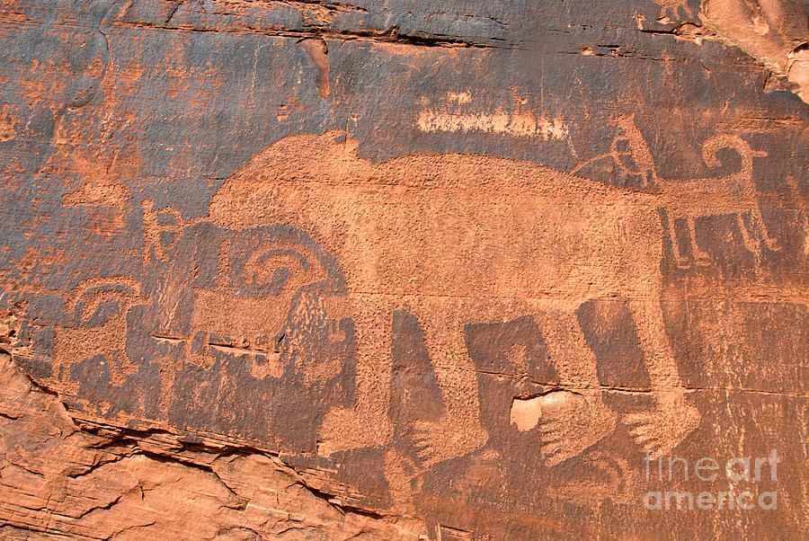 Petroglyph Photograph - Big Bear Petroglyph by David Lee Thompson