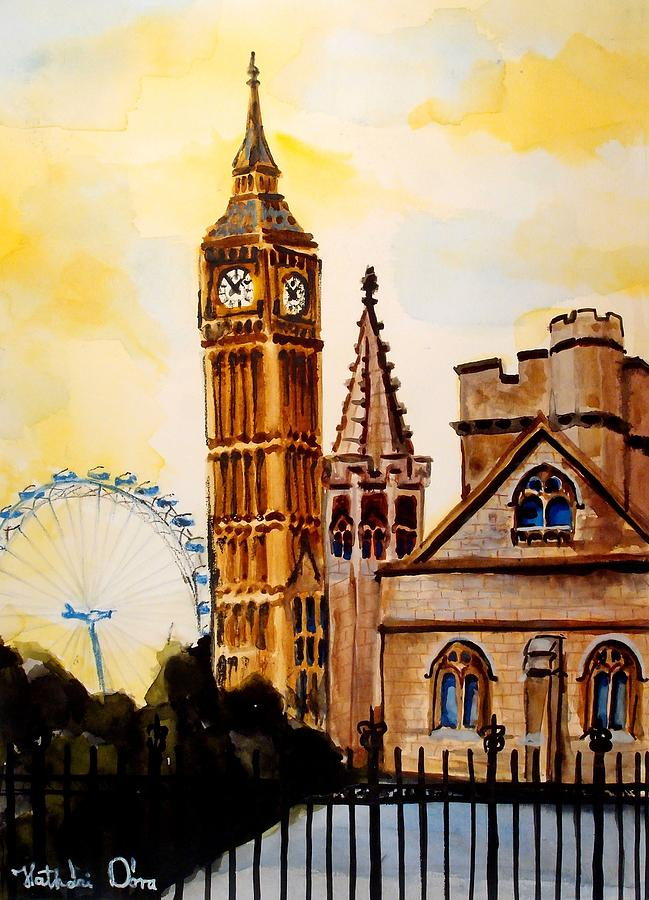 77f36c968 Big Ben And London Eye - Art By Dora Hathazi Mendes Painting by ...