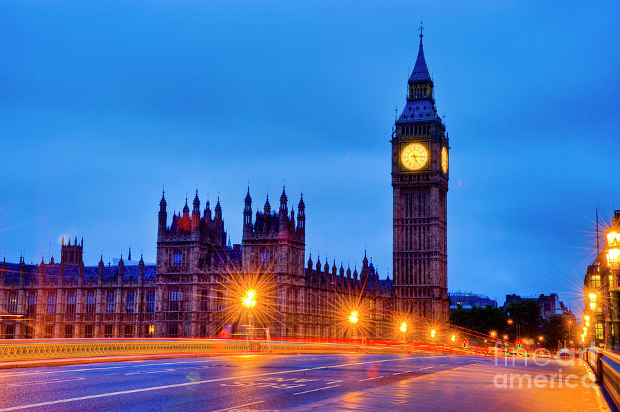 Big Ben Photograph - Big Ben at Night by Donald Davis