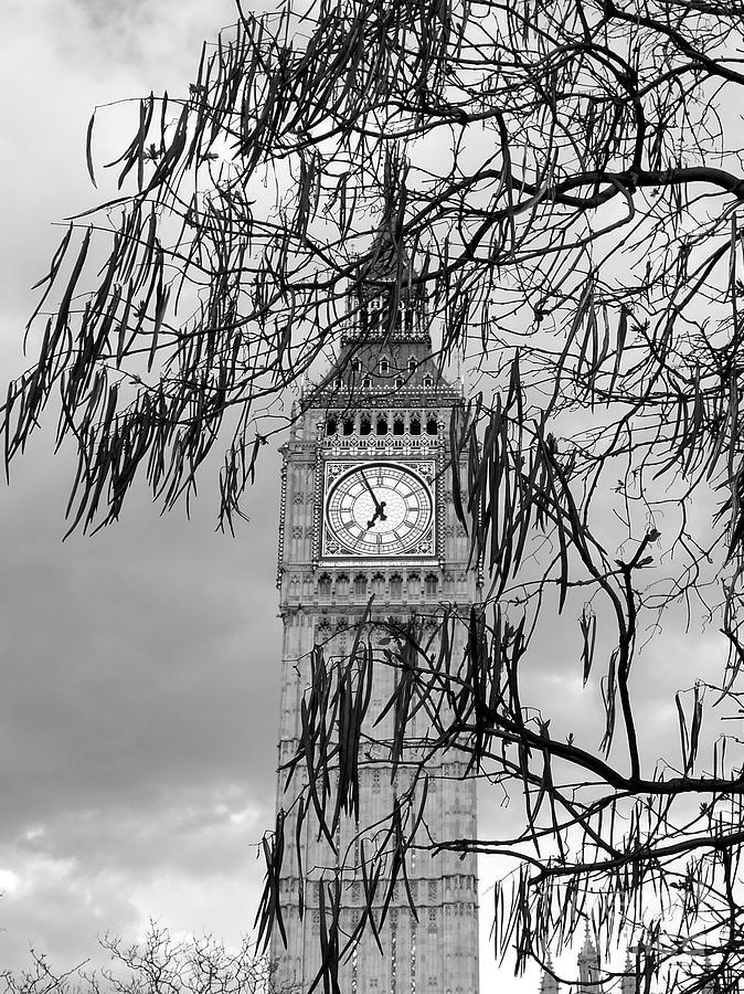 Big Ben Photograph - Bw Big Ben London by Lexa Harpell