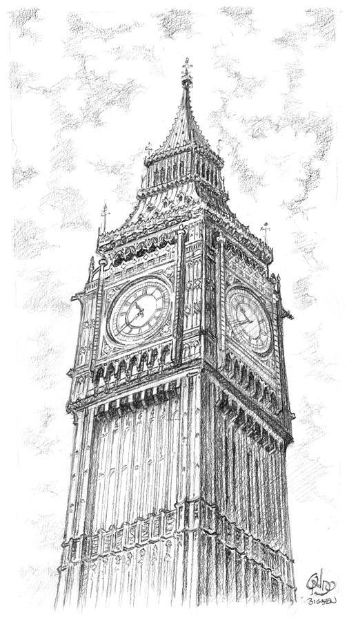 00987d846 Big Ben London Drawing by Vlado Ondo