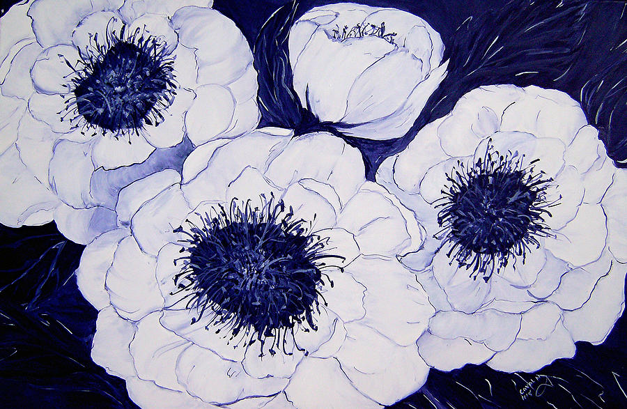 Big Blue And White Dahlia Flowers Painting By Carol Nelissen