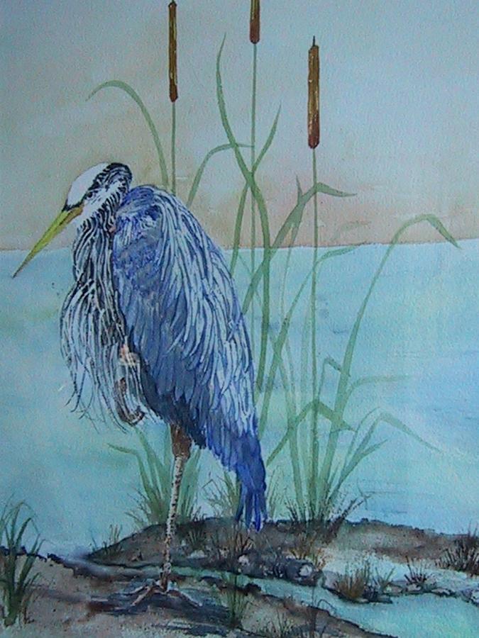 Birds Painting - Big Blue by Barbara Remensnyder