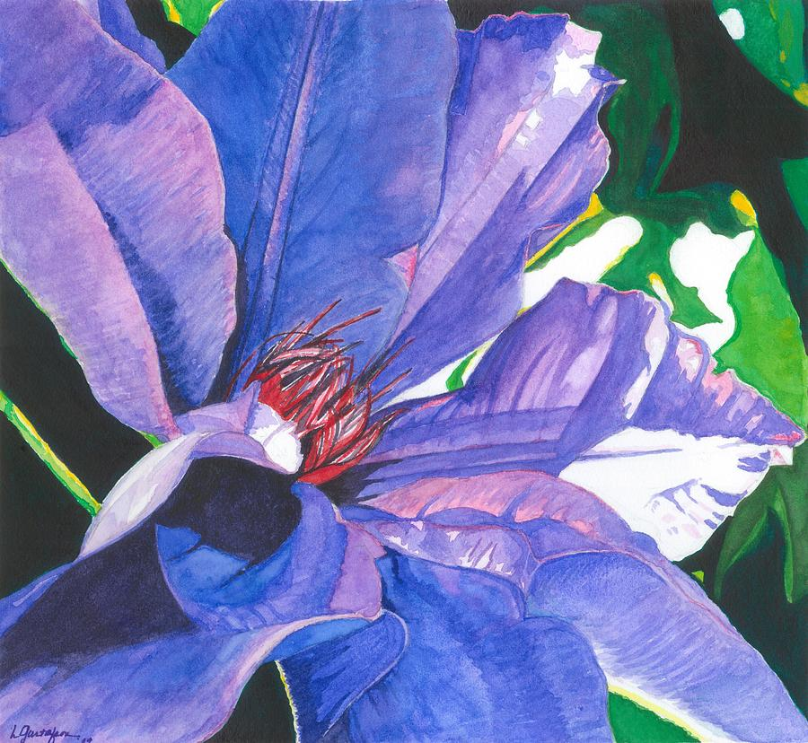 Flower Painting - Big Blue Clematis by Leslie Gustafson