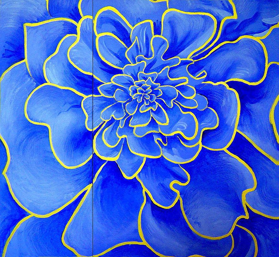 Diptych Painting - Big Blue Flower by Geoff Greene