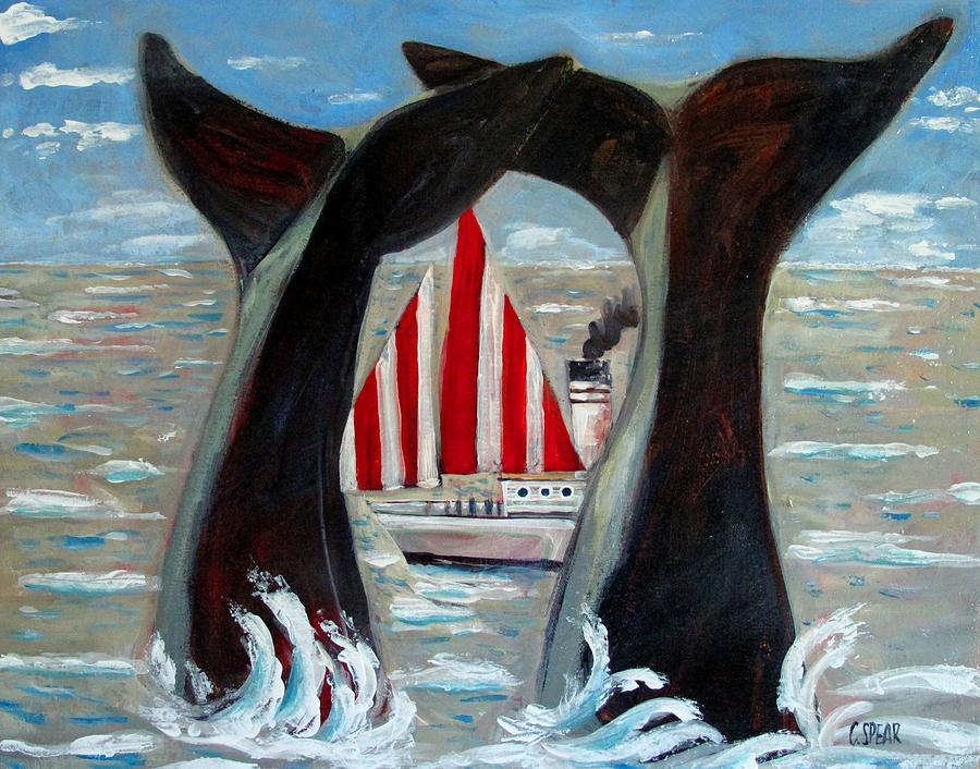 Whales Painting - Big Blue Splash by Charlie Spear